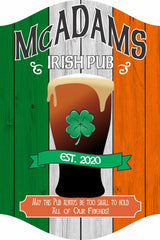 Personalized Irish Pub Sign with Shamrock and Irish Flag or Wood Effect Background