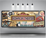 Personalized Hollywood Marquee Home Cinema Sign with Movie Paraphernalia Design