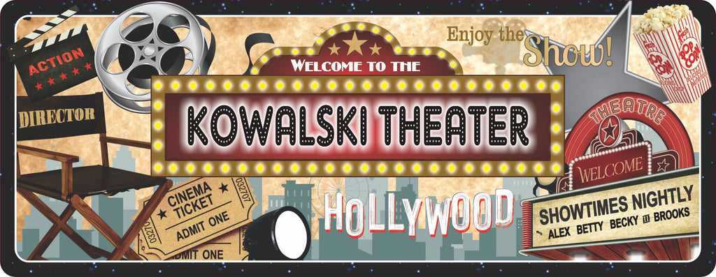 Personalized Hollywood Marquee Home Cinema Sign