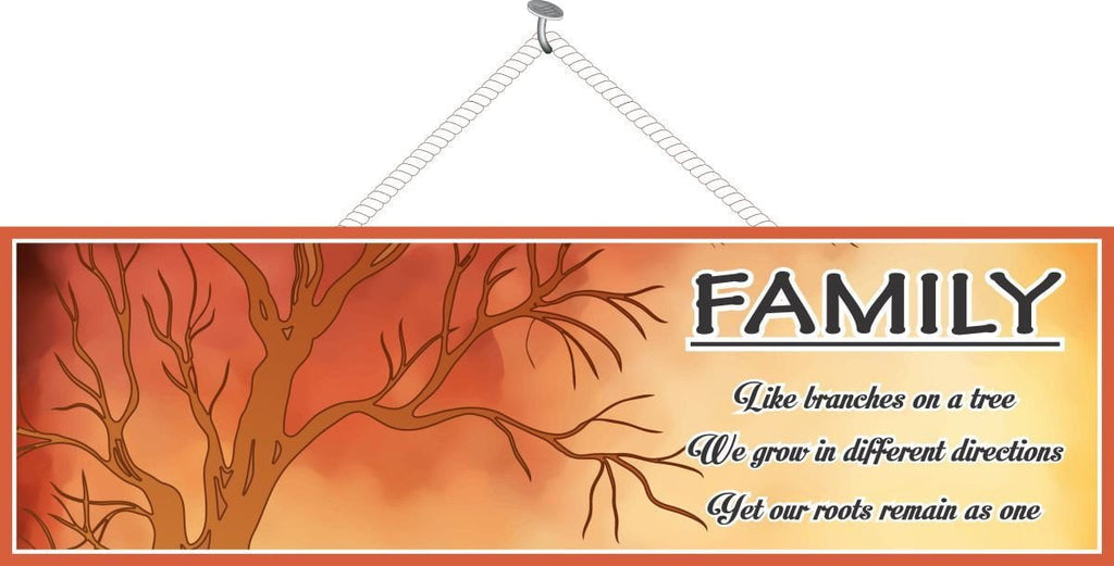 Like Branches on a Tree We Grow in Different Directions Family Quote Sign with Tree in Silhouette