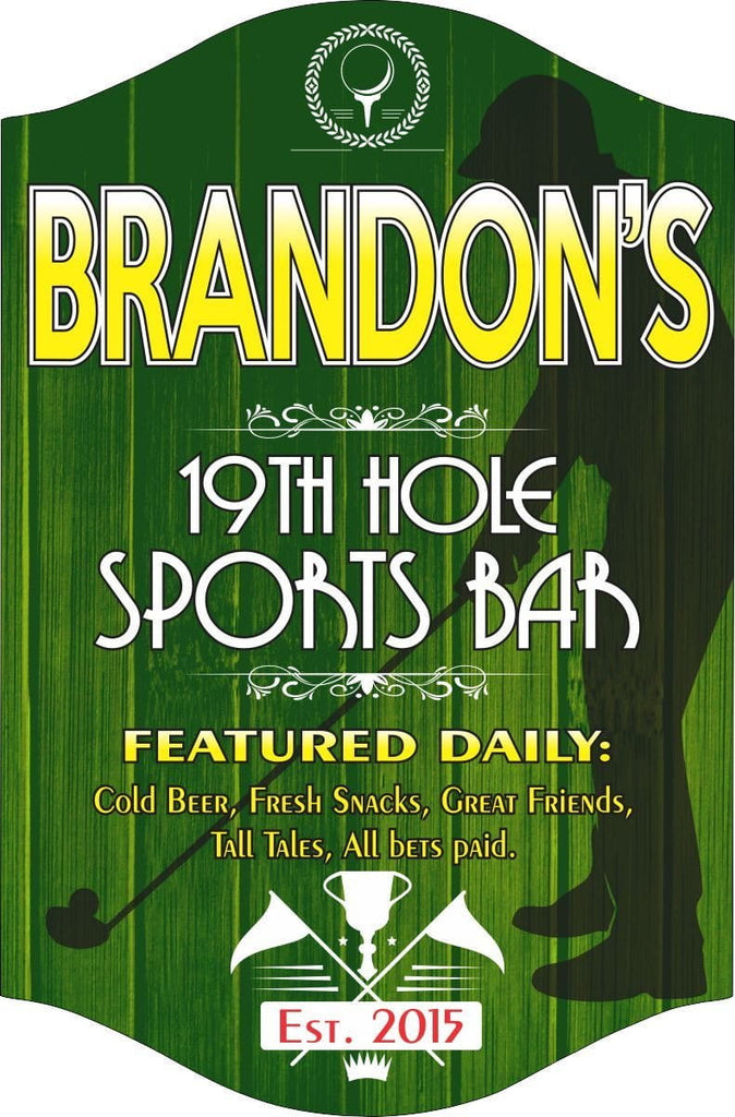 19th Hole Sports Bar Sign in Green with Golfer Silhouette & Established Date