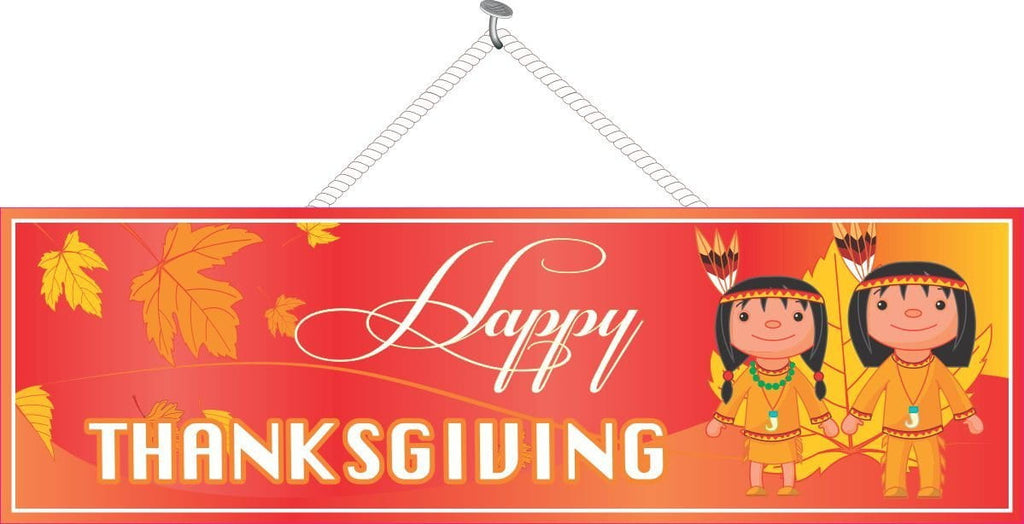 Red & Gold Thanksgiving Sign with Native American Kids
