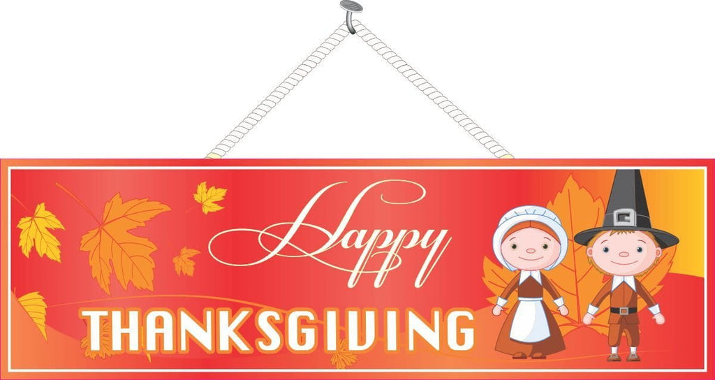 Pilgrim Kids Thanksgiving Sign with Falling Leaves