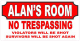 Personalized No Trespassing Warning Sign for Kids Room