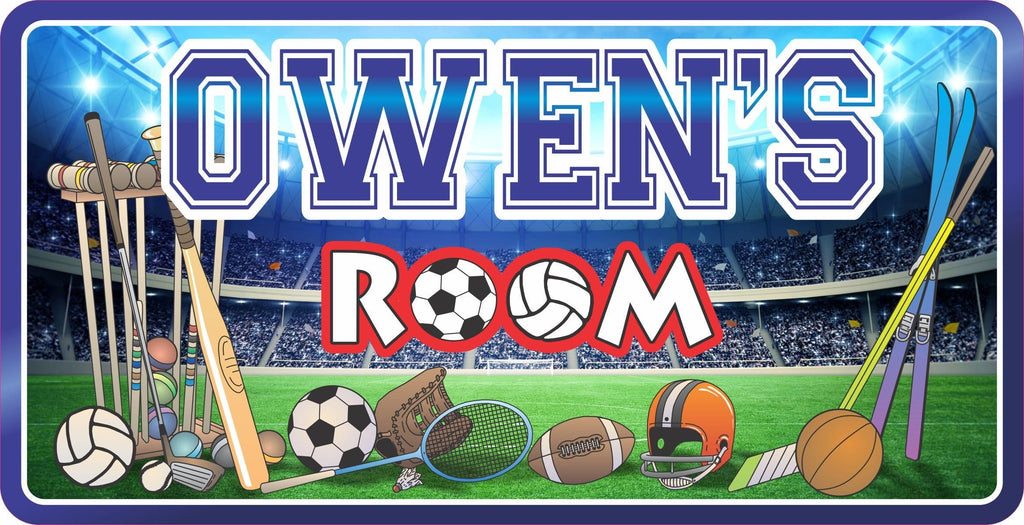 All Sport Personalized Kids Room Sign with Athletic Equipment & Stadium Background