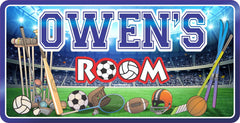 Kids Room Sports Sign with Stadium Scene
