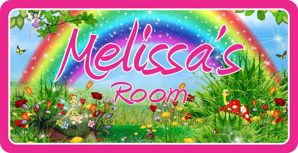 Personalized Kids Room Sign with Rainbow and Fairies