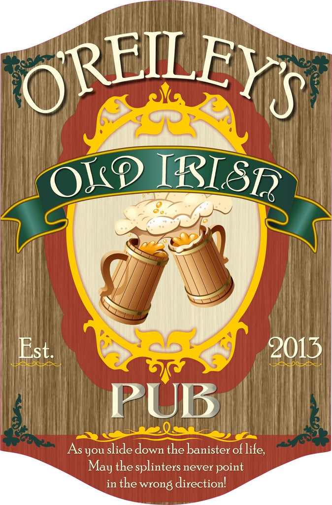Traditional Irish Pub Wall Sign with Vintage Letters and Wooden Beer Steins
