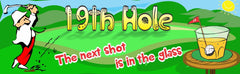 19th Hole Sports Sign with Shot Glass & Male Golfer