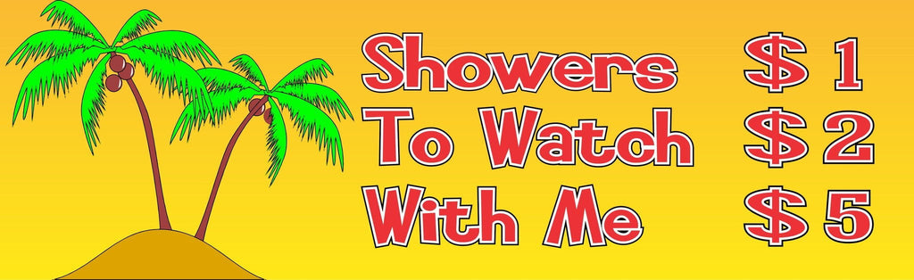 Extended Shower Price List Funny Beach Sign with Palm Trees & Island