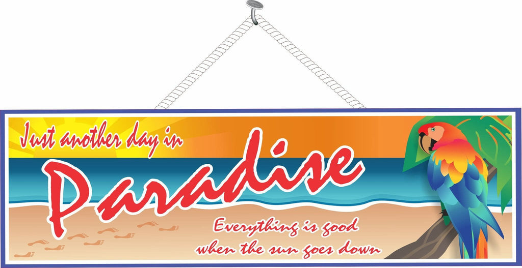 Paradise Sign With Beach Background And Parrot