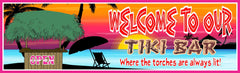 Sunset Tiki Bar Sign with Palm Trees