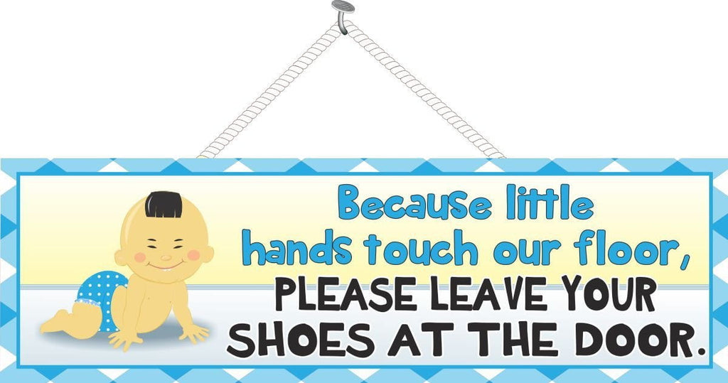 Remove shoes at the door with cartoon Asian baby in pink or blue