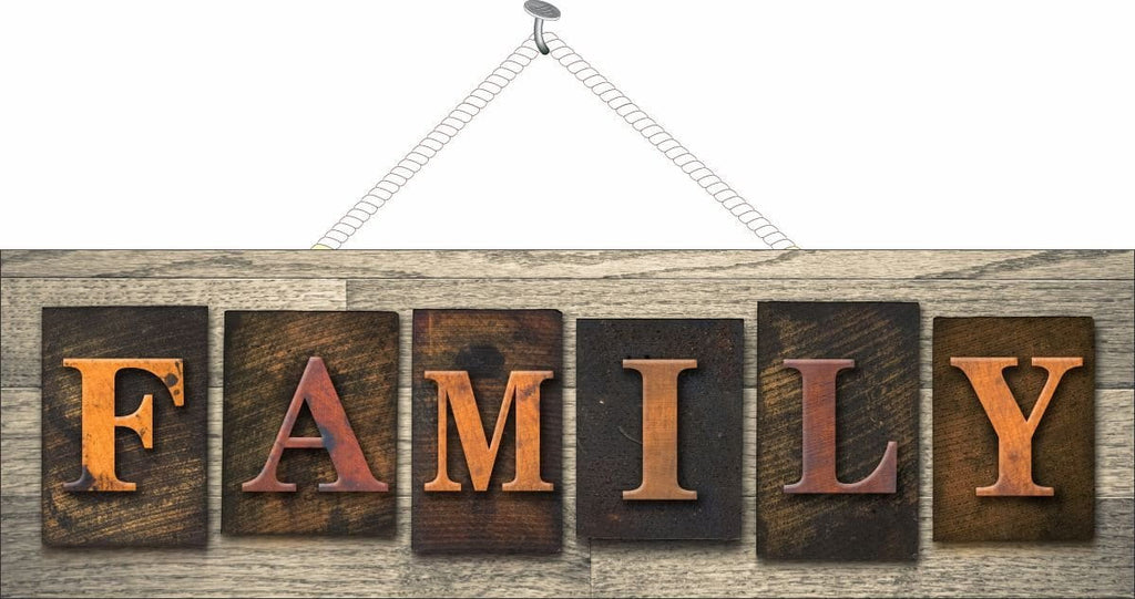 Family Home Welcome Sign with Block Letters and Faux Wood Background
