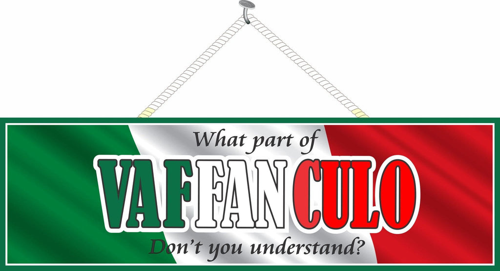 What Part of Vaffanculo Don't You Understand Funny and Crude Novelty Quote Sign with Italian Flag Background