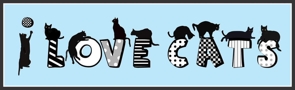 I Love Cats Novelty Sign with Playful Black Cats, Funky Font, and Blue Background