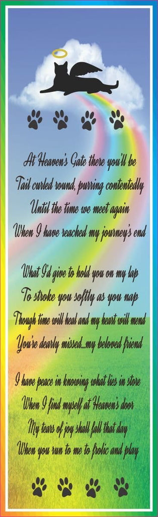 Heaven's Gate Cat Pet Loss Poem Sign with Rainbow, Angel Kitty Silhouette, and Paw Prints