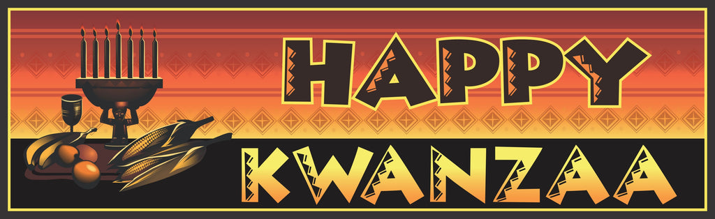 Traditional Happy Kwanzaa Sign in Black and Gold