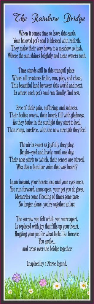 Rainbow Bridge Poem Pet Loss Sign