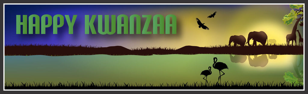 Happy Kwanzaa Sign with African Plains Wildlife Design
