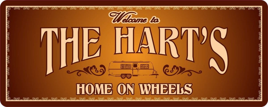 Home on Wheels Personalized RV Welcome Sign in Gold with Elegant Flourishes