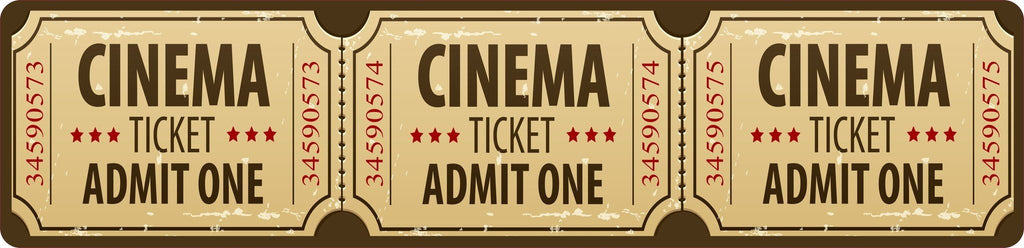 Home Movie Theater Sign with Distressed Effect Cinema Ticket Design