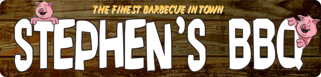 Personalized BBQ Sign Wood Effect Street Sign with Pigs