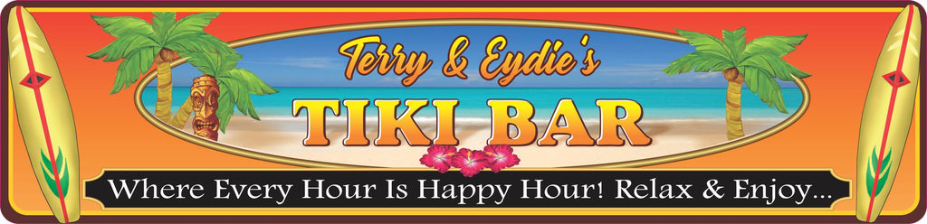 Personalized Novelty Street Sign Tiki Bar Sign with Palm Trees