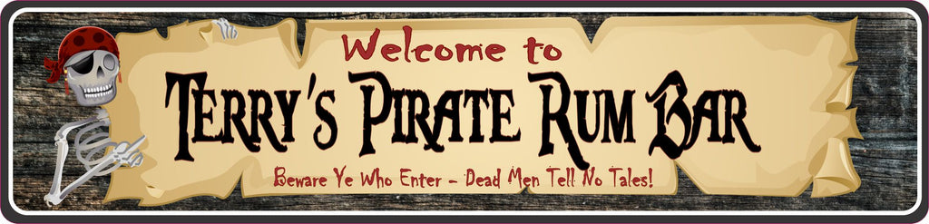 Personalized Aluminum Pirate Rum Bar Sign with Skeleton