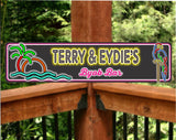Personalized Tropical Themed Home Bar Sign with Neon Effect