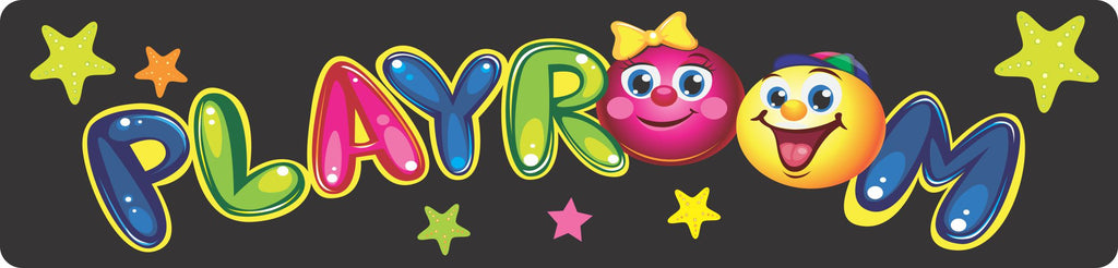Kids Playroom Sign with Colorful Balloon Letters and Stars