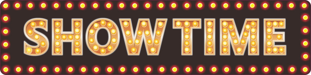 Showtime Movie Theater Sign for Home Cinema with Flashbulb Effect Border