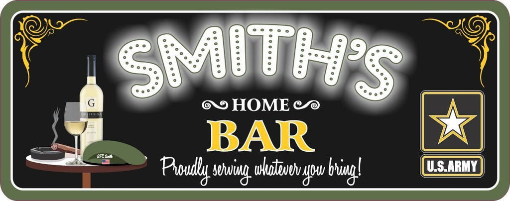 Military Bar Sign with Custom Name on Beret