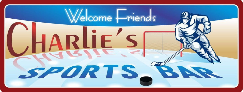 Personalized Hockey Sports Bar Sign in Blue with Hockey Player, Puck, Goal & Ice Rink
