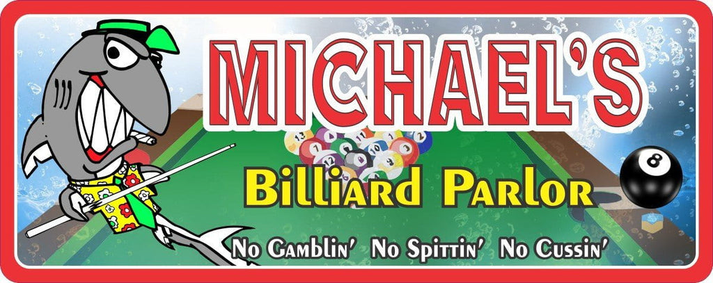 Grinning Pool Shark Billiard Room Sign with 8 Eight Ball
