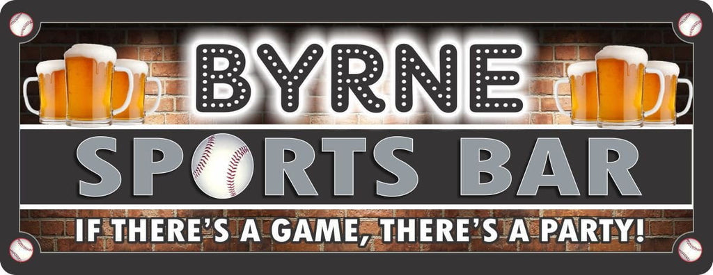 Personalized Baseball Sports Bar Sign with Amber Beer Mugs & Red Brick Background