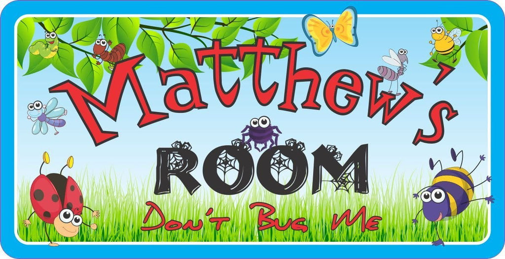 Blue & Green Personalized Sign for Kids with Bugs