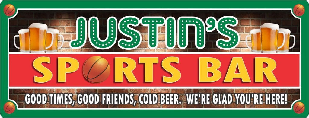 Personalized Basketball Sports Bar Sign with Beer Mugs & Red Brick Background