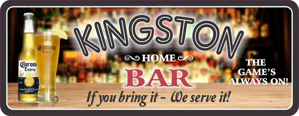 You Bring It We Serve It Personalized Bar Sign with Liquor Bottle Background