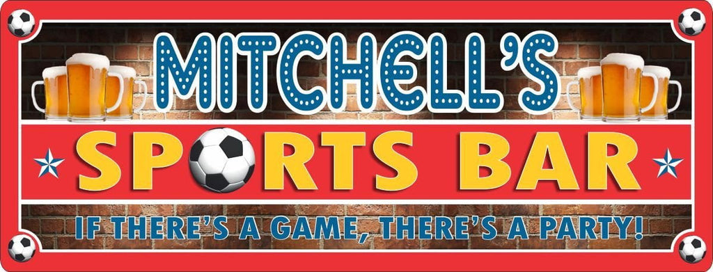 Personalized Soccer Sports Bar Sign with Frothy Beer Mugs & Red Brick Background
