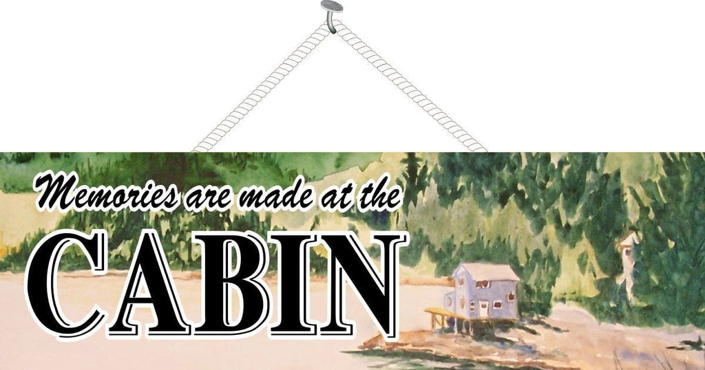 Watercolor Cabin Sign with Lake