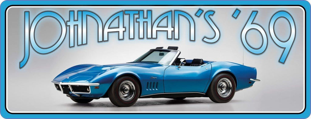 1969 Corvette Stingray Classic Car Personalized Sign in Blue with Light Chrome Background