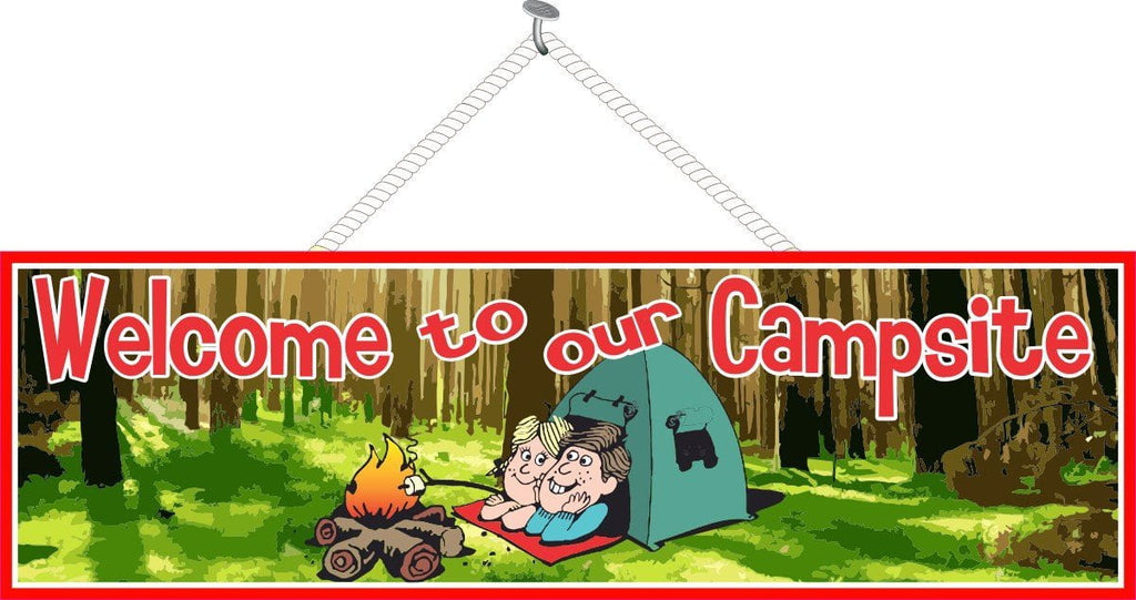 Campsite Welcome Sign with Couple in Tent & Campfire