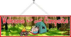 Camp Welcome Sign with Couple, Campfire & Tent