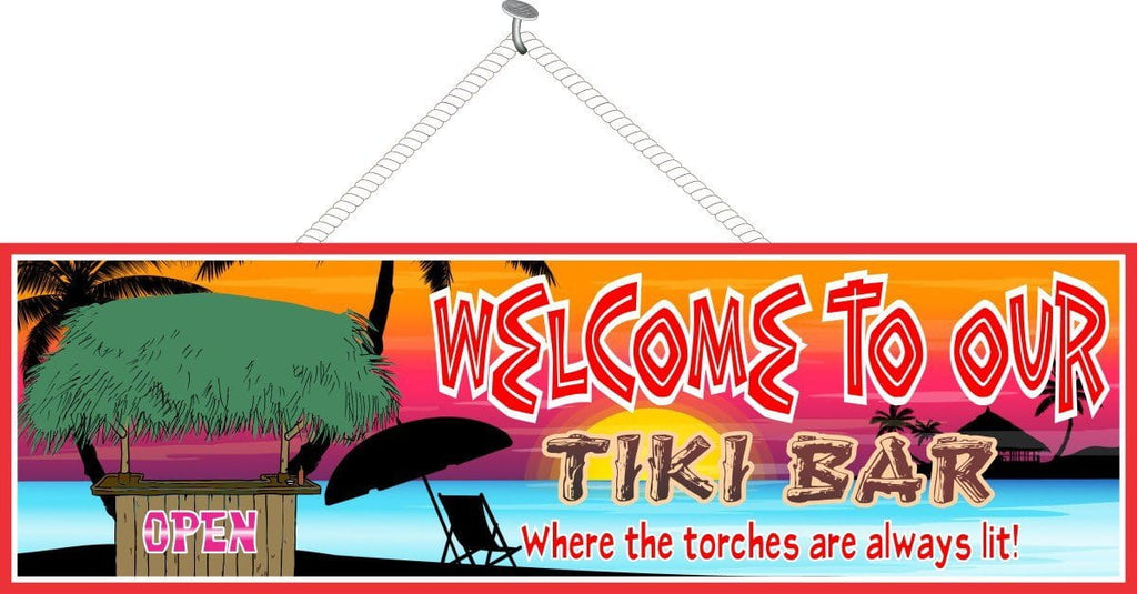 Beach Sunset Tiki Bar Sign with Beach Umbrella & Palm Tree Silhouettes