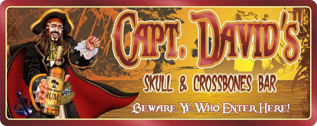Skull & Crossbones Personalized Bar Sign with Captain Morgan, Rum and Pirate Ship Background