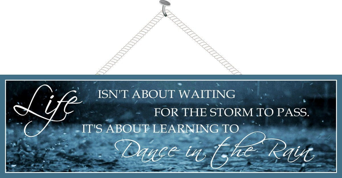 Dance In The Rain Inspirational Quote Sign With Blue Background Raindrops