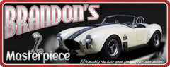White British Sports Car Sign with Custom Name