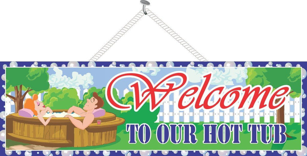 Relaxing Hot Tub Welcome Sign with Couple and Optional Bubble Border