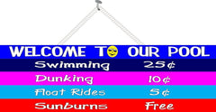 Funny Pool Welcome Sign with Colorful Price List